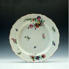 Worcester Porcelain Floral Pattern Dessert Plate c1760 Faux Chelsea Mark
