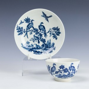 First Period Worcester Birds in Branches Pattern Tea Bowl & Saucer c1770