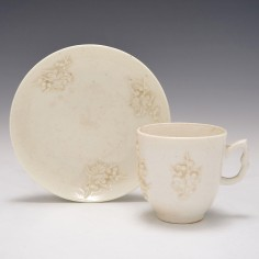 Bow Blanc De Chine Coffee Cup and Saucer c1750-55
