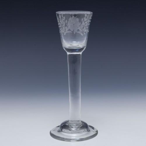 Engraved Irish Plain Stem Cordial Glass c1750