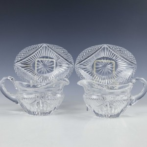 A Pair of Late 19th Century Glass Sauce Boats and Stands c1900