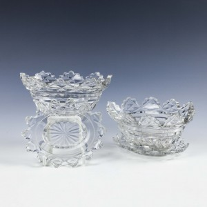 A Pair of Regency Cut Glass Table Bowls With Stands c1800