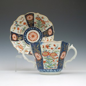 Worcester Queens Pattern Chocolate Cup & Saucer 1775
