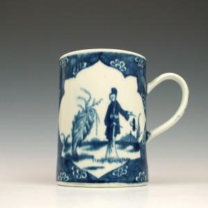 Antique Worcester Porcelain The Cracked Ice Ground Pattern Mug c1768