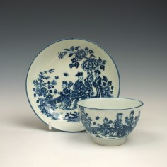 First Period Worcester Three Ladies Pattern Teabowl and Saucer c1770