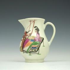 Rare Worcester Lady At The Loom Pattern Sparrow Beak Jug c1770