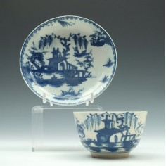 Early Lowestoft Porcelain House and Willow Tree Pattern Tea Bowl and Saucer c1763