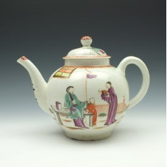 Lowestoft Porcelain Mandarin Yellow Window Pattern Teapot and Cover c1790