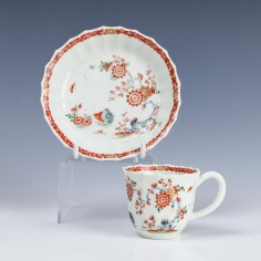 Rare Fluted Worcester Two Quail Pattern Coffee Cup and Saucer c1765