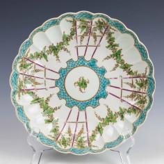 Worcester Porcelain Hop Trellis Pattern Saucer Dish c1775