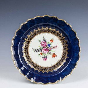 First Period Worcester Blue Ground Floral Pattern Porcelain Plate c1775
