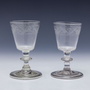 Two Engraved Early 19th Century Dram Glases c1800