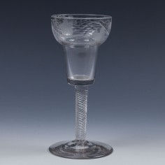 Engraved Pan Topped Bucket Bowl Air Twist Wine Glass c1800