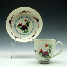 Worcester Lightning Pattern Coffee Cup and Saucer c1770