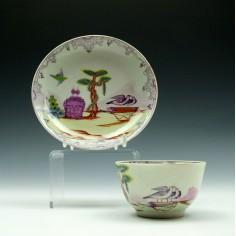Rare First Period Worcester Valentine Pattern Tea Bowl & Saucer c1760