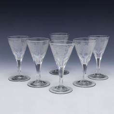 Six Engraved Slice Cut Port Wine Glasses c1810