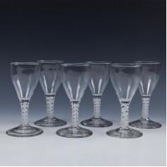 Set of Six Opaque Twist Port Wine Glasses c1800