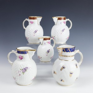 Collection of 20th Century Coalport Mask Spout Jugs and A Derby Example