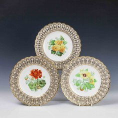 Three Reticulated Minton Porcelain Cabinet Plates c1860