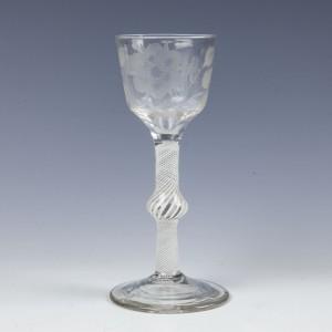 A Jacobite Sympathy Multi Series Opaque Twist Stem Wine Glass c1760