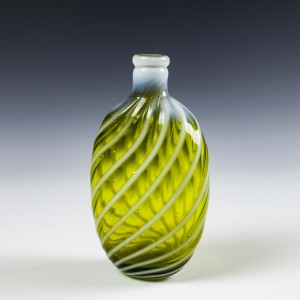 Opaline Banded Uranium Glass Flask c1880