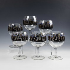 Six Large Signed Vetri Della Arte VEDAR Coctail Glasses c1925