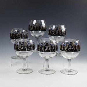 Six Large Signed Vetri Della Arte VEDAR Coctail Glasses c1925