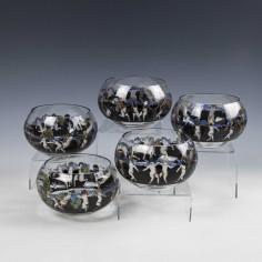 Six Signed Vetri Della Arte  VEDAR Finger Bowls c1925