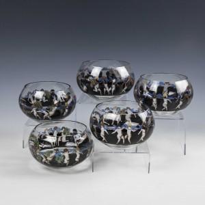 Five Signed Vetri Della Arte  VEDAR Finger Bowls c1925