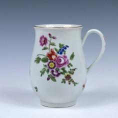 First Period Worcester Bell Shape Floral Pattern Mug c1775
