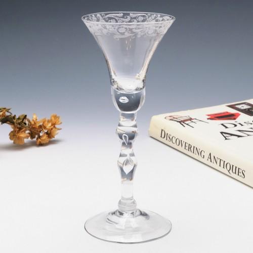 A Georgian Light Baluster Wine Glass c1750