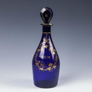 A Gilded Bristol Blue Rum Decanter c1810