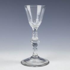 Early Georgian Facet Cut Wine Glass c1780