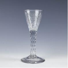 Engraved Georgian Facet Cut Wine Glass c1780