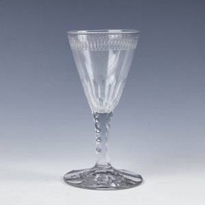 Rare Regency Wine Glass with Slice and Scallop Cut Stem c1820