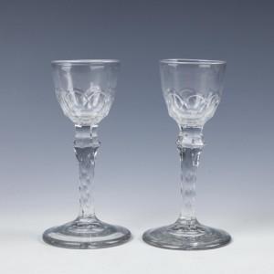 A Pair Regency Cut Wine Glasses c1830