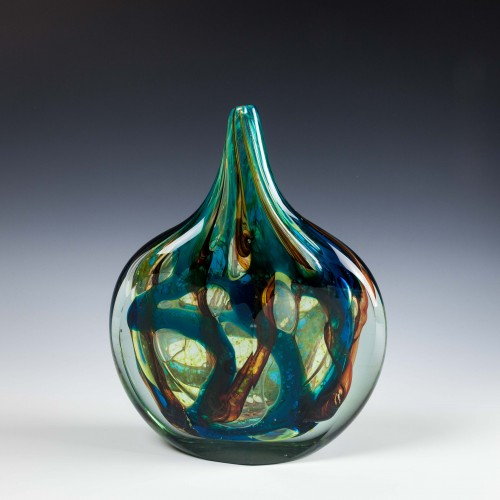 A Rare Mdina Cut Ice Fish Vase c1978