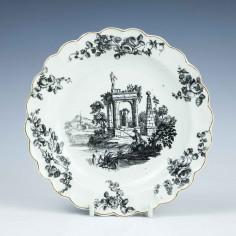 Worcester Porcelain Classical Ruins Saucer Dish c1765