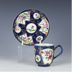 First Period Worcester Powder Blue Ground Coffee Cup and Saucer c1765