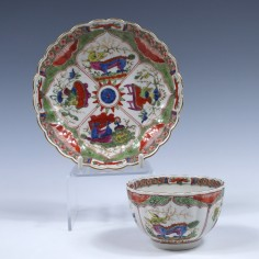 First Period Worcester Dragons in Compartments Pattern Teabowl and Saucer c1770