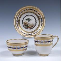 Derby Porcelain Trio Decorated By Zacharia Boreman c1790