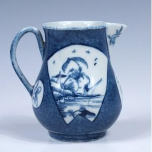Rare Worcester Porcelain Fisherman In A Fan Shaped Panel Cream Jug  c1765