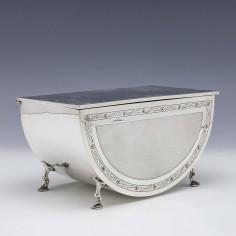 A Lined Sterling Silver Casket By Paul Ora 1929