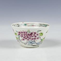 Early Bow Porcelain Polychrome Teabowl c1750