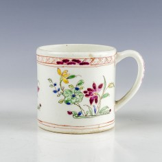 A Bow Porcelain Floral pattern Coffee Can c1755