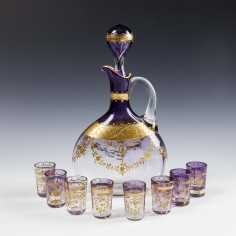 Amethyst Spirit Decanter Bottle and Shot Glasses c1900