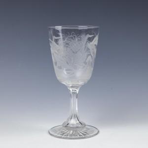 A Superb J Northwood Engraved Glass Goblet c1880