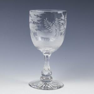 Acid Etched Victorian Glass Goblet c1880