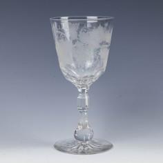 Engraved Victorian Wine Goblet c1880
