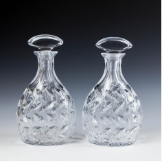 A Pair of Clyne Farquharson Leaf Pattern Cut Crystal Decanters